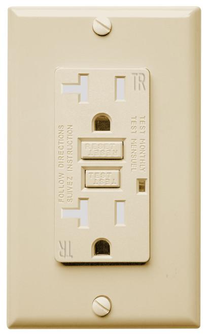 GFCI 15Amp Tamper Resistant  Weather Resistant UL2008 w/ LED Ivory