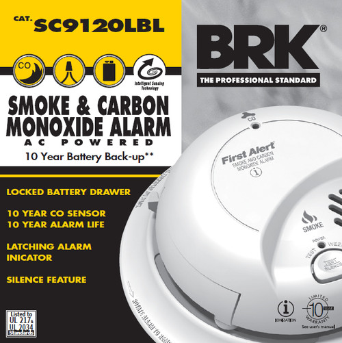 BRK Smoke & Carbon Monoxide Alarm Hardwired with 10YR Lithium Battery  Locked Battery Drawer