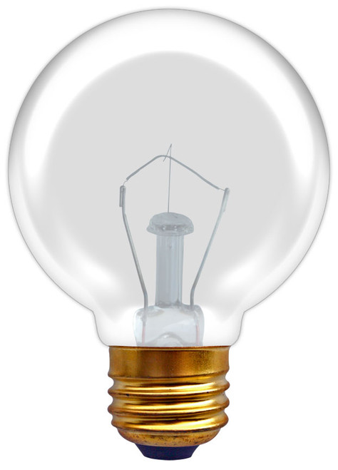(G40/CL/25/E26) Incandescent Vanity Globe G40 25W Clear E26 Base