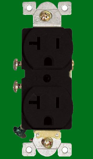 (RCB) Commercial Duplex Receptacle 20Amp Black