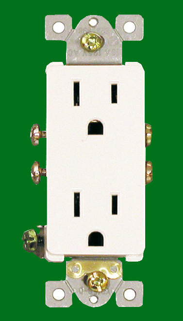 (RDW) Decorative Duplex Receptacle 15Amp White