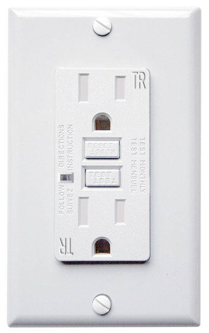 When miswired, GFCI (Ground Fault Circuit Interupter) outlets have no power, so it is more safe than conventional receptacle If miswiredor if GFCI protection is damaged, GFCI can't be reset Easier installation