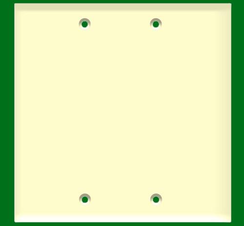 (W2BA) Blank Wall Plate 2-Gang Almond
