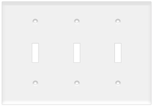 (WS3W) Toggle Switch Wall Plate 3-Gang White