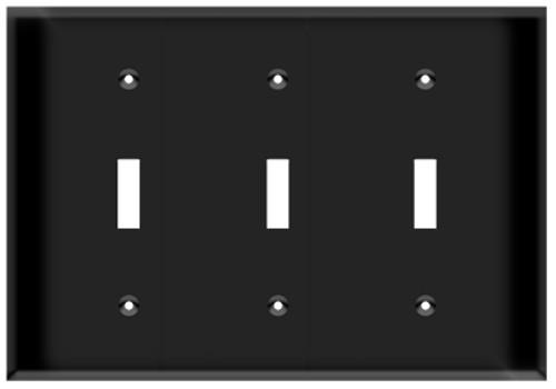(WS3B) Toggle Switch Wall Plate 3-Gang Black