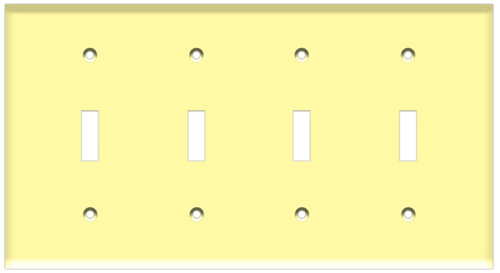 (WS4I) Toggle Switch Wall Plate 4-Gang Ivory