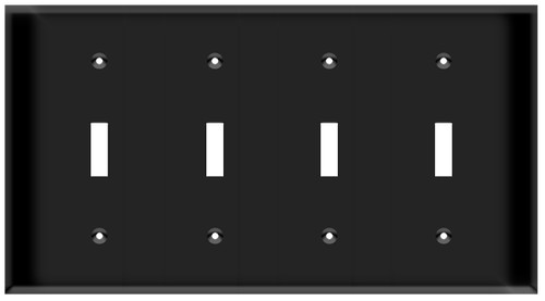 (WS4B) Toggle Switch Wall Plate 4-Gang Black