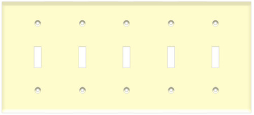 (WS5A) Toggle Switch Wall Plate 5-Gang Almond