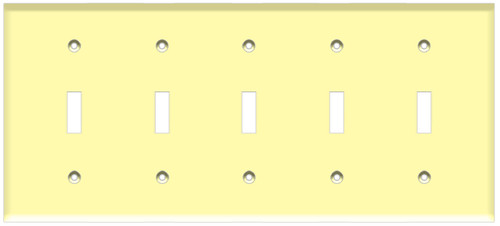 (WS5I) Toggle Switch Wall Plate 5-Gang Ivory