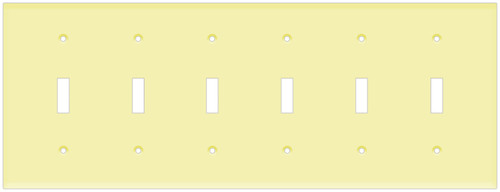 (WS6I) Toggle Switch Wall Plate 6-Gang Ivory