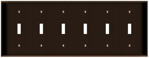 (WS6BRN) Toggle Switch Wall Plate 6-Gang Brown