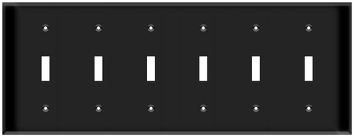 (WS6B) Toggle Switch Wall Plate 6-Gang Black