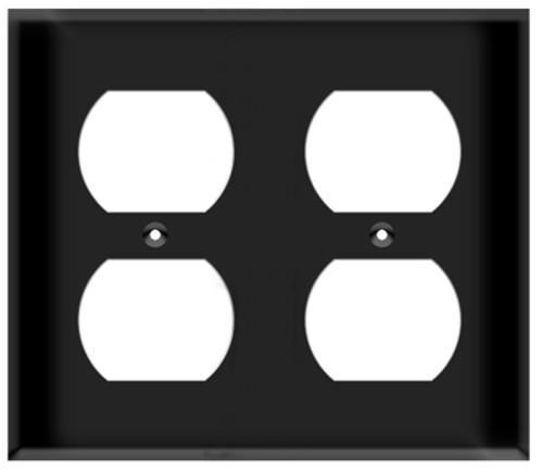 (WR2B) Duplex Receptacle Wall Plate 2-Gang Black