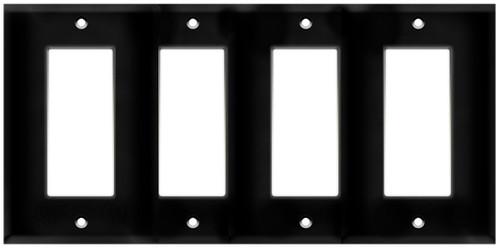 (WD4B) Decorative Wall Plate 4-Gang Black