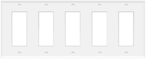 (WD5W) Decorative Wall Plate 5-Gang White