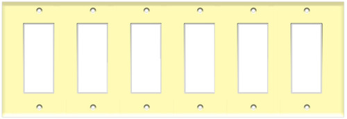 (WD6I) Decorative Wall Plate 6-Gang Ivory
