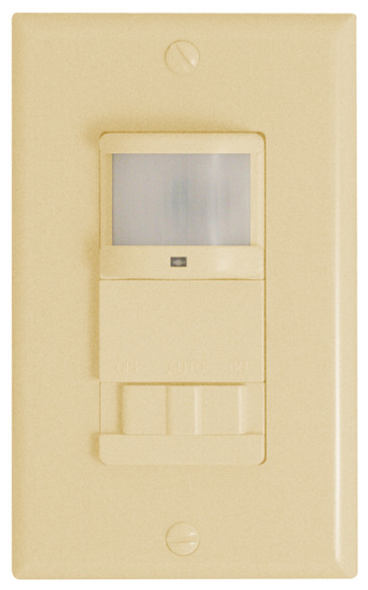 Occupancy/Vacancy Sensor Auto On and Off Operation Ivory   Passive Infrared Wall Switch Vacancy Sensor Rated: 120VAC, 60Hz, 0~600W Replaces a standard light or fan single-pole switch Works with incandescent, MLV, ELV, 1/6hp Works with fluorescent and CFLs (maximum 30Watts) Covers an area up to 24ft x 25ft (600ft²), 180º