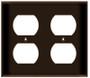 (WR2BRN) Duplex Receptacle Wall Plate 2-Gang Brown