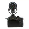 Rode VideoMic Pro+ with Rycote Lyre Suspension Mount mounted on DSLR camera back