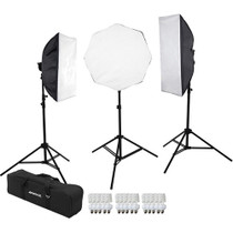 "Westcott 483 D5 3-Light Daylight Softbox Kit with Case Includes: 3 D5 Light Heads, 15 27w Fluorescent Lamps, 1 24"" x 32"" Softbox, 1 32"" Octabox, 1 16"" x 40"" Strip, 3 6.5' Light Stands, 1 Carry Case."