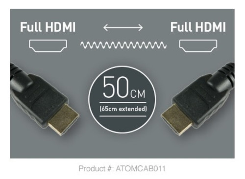 "Atomos 50cm Full HDMI to Full HDMI Coiled Cable (19.7 to 25.6"")"