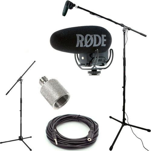 RODE VideoMic Pro+ w/ Rycote Studio Boom Kit - VMP+, Boom Stand, Adapter, and 25' Cable