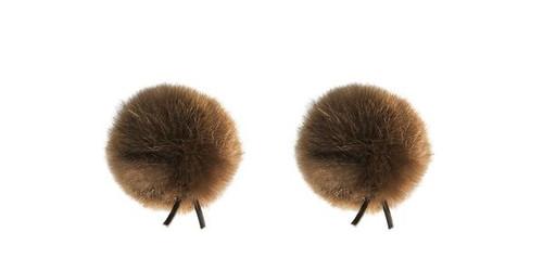 Bubblebee Industries Windbubble Miniature Imitation-Fur Windscreen, Twin Pack (Lav Size 2, 35mm, Brown)