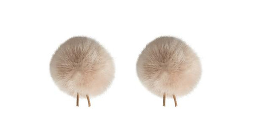 Bubblebee Industries Windbubble Miniature Imitation-Fur Windscreen, Twin Pack (Lav Size 2, 35mm, Beige)