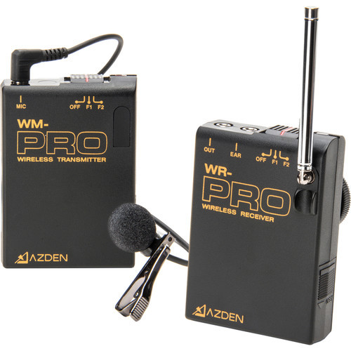 Azden WLX-PRO+i VHF Wireless Lavalier Microphone System for Cameras & Mobile Devices (F1/F2 Frequencies)