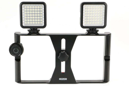 Rizer Smartphone Video Rig Handheld Grip Stabilizer with 2 Dimmable LED Lights