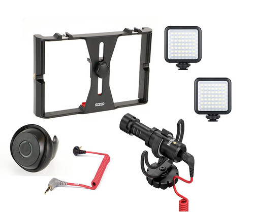 Rizer Smartphone Rig with 2 Rizer Smartphone Lights, Rode VideoMicro Directional cardioid condenser microphone, Rizer Smartphone Bluetooth Clicker, and Rode SC7 TRRS cable