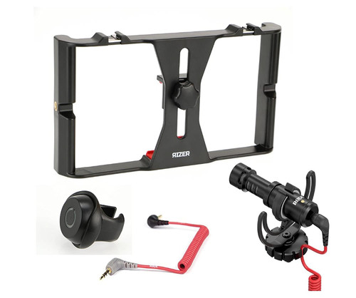 Rizer Smartphone Rig with Rizer Smartphone Bluetooth Clicker, Rode VideoMicro and Rode TRRS Cable