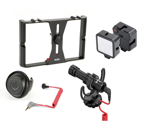 Rizer Smartphone Rig with Rizer Smartphone Light, Rode VideoMicro Directional cardioid condenser microphone, Rizer Smartphone Bluetooth Clicker, and Rode SC7 TRRS cable for VideoMic GO