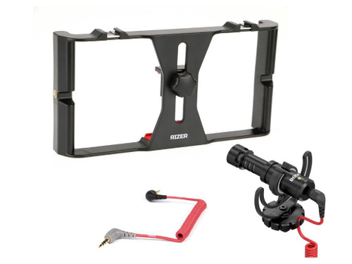 Rizer Smartphone Rig with Rode VideoMicro Directional cardioid condenser microphone and Rode SC7 TRRS cable