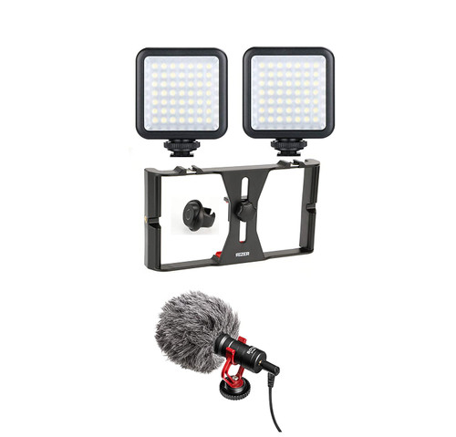 Rizer Smartphone Rig with 2 Lights, Boya Mic, and Bluetooth Clicker