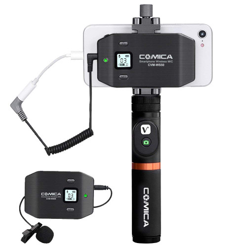 Comica CVM-WS50(A) Wireless Lavalier Microphone for Smartphone with Bluetooth Grip