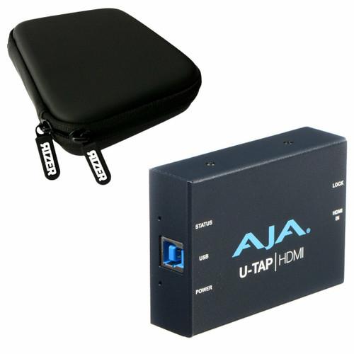 Aja U-TAP USB 3.1 Gen 1 Powered HDMI Capture Device with Rizer Case