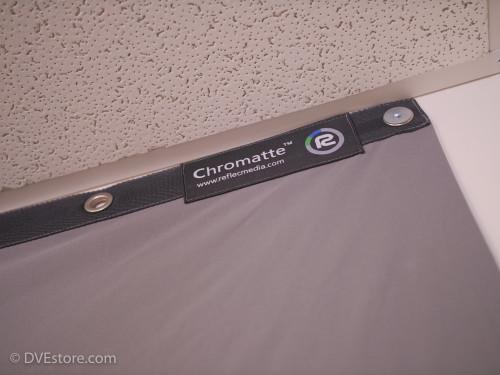 Chromatte drape mounted to sheetrock wall