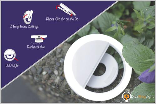 Diva Ring Light COMET Clip on Selfie LED Ring Light with Bluetooth Shutter Remote (White)