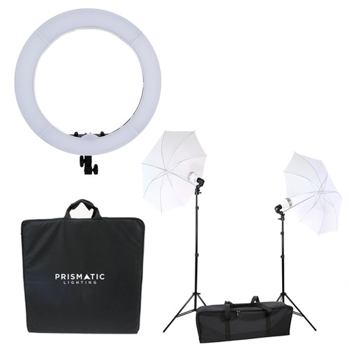 Prismatic Halo LED ring light with diva ring light umbrella 2 light 3 point lighting