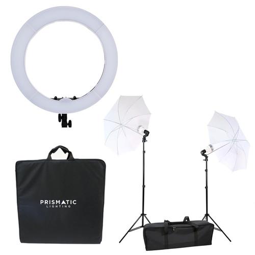 Prismatic Halo LED ring light with diva ring light umbrella 2 light 3 point lighting