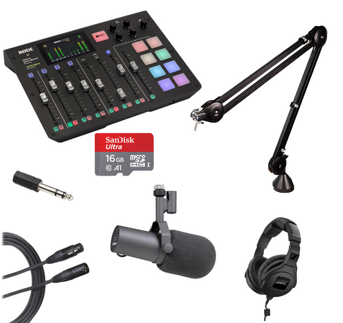 """Famous Podcacsting Kit: 1 Host, Includes 1 Rodecaster Pro, 1 Sandisk 16GB SD Card, 1 Audio Technica 15' XLR Cable, 1 Hosa 1/8"""" to 1/4"""" Adapter, 1 RODE PSA-1 Studio Arm, 1 Shure SM7B Microphone, and 1 Sennheiser HD 300 Pro Headphones"""