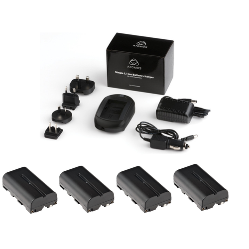 Atomos Single Battery Charger with Four Atomos Batteries