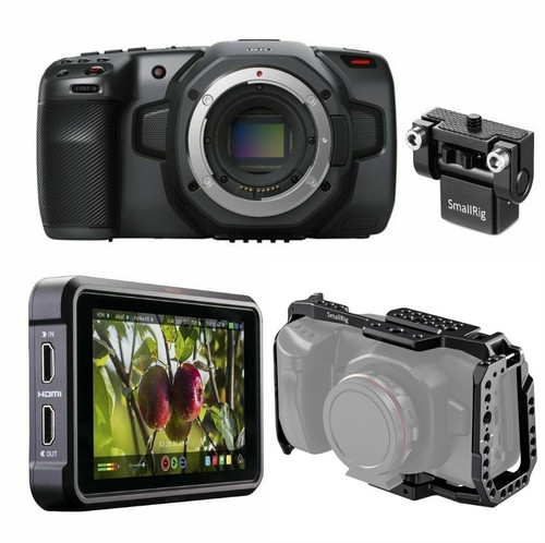BMD Pocket Camera 6K, Ninja V, Cage & Monitor Mount Bundle