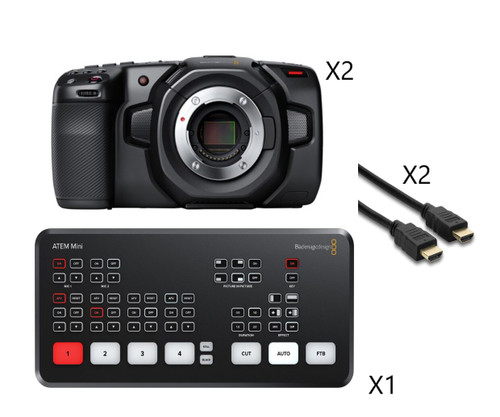 BMD ATEM Mini with Pocket Camera 4K (X2) and Cable (X2)
