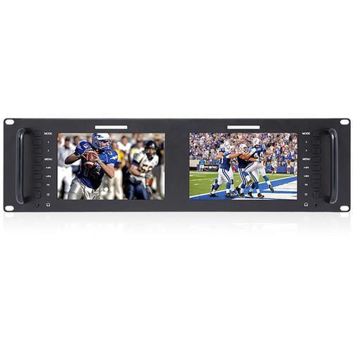 "FeelWorld D71 D71 Dual 7"" 3 RU Rackmount 3G-SDI/HDMI LCD Monitor"