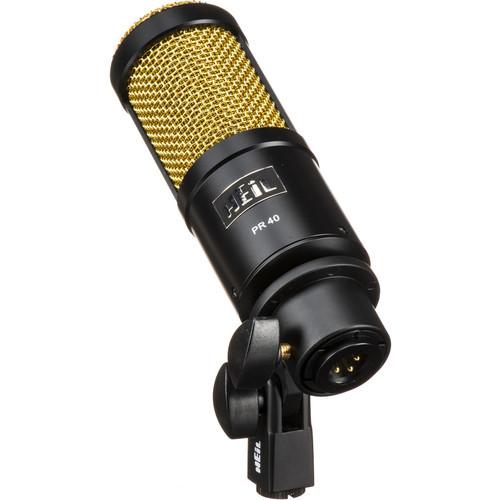 Heil Sound PR40B Dynamic Cardioid Microphone (Black Body/Gold Grill)