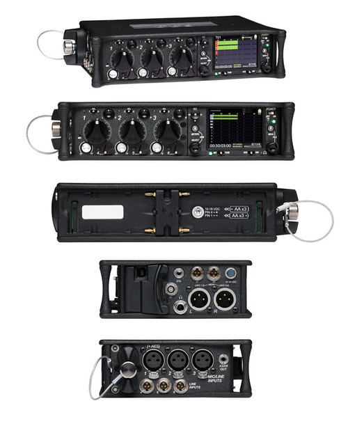Sound Devices 633 Six-Input Compact Mixer with 10-Track Recorder All Views.