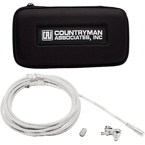 Countryman B2D Directional Lavalier with Fixed SM Connector for Lectrosonics Wireless Transmitters (Gray Band, White)