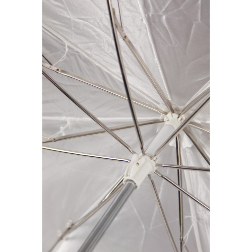 """Westcott 43"""" Optical White Satin with Removable Cover Collapsible Umbrella"""